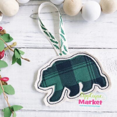 Bear Applique In the Hoop Ornament