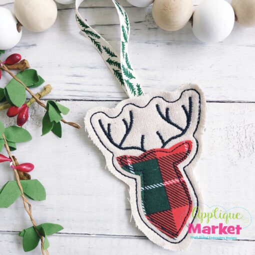 Buck Applique In the Hoop Ornament
