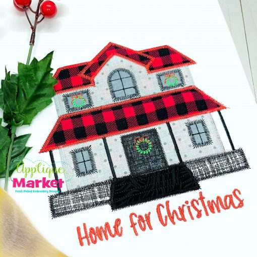 Christmas Farmhouse Zig Zag Applique Towel