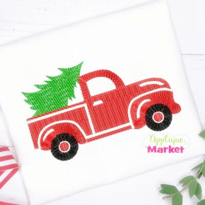 Christmas Truck Tree Sketch