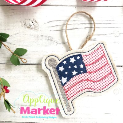 Flag In the Hoop Ornament