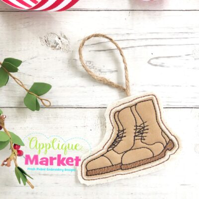 Military Boots In the Hoop Ornament