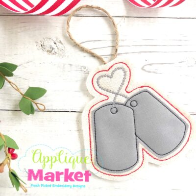 Military Dog Tags In the Hoop Ornament