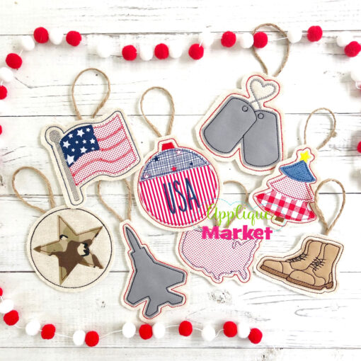 Military In the Hoop Ornaments Applique Bundle