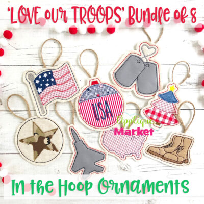 Military In the Hoop Ornaments Bundle