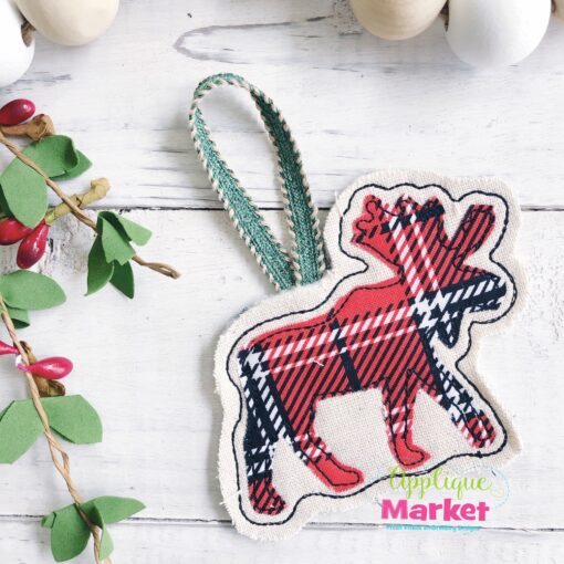 Moose Applique In the Hoop Ornament