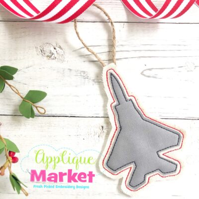 Navy Jet In the Hoop Ornament