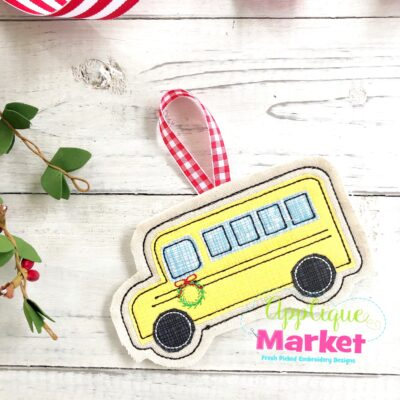 School Bus In the Hoop Ornament
