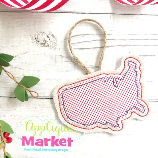 USA Outline In the Hoop Ornament