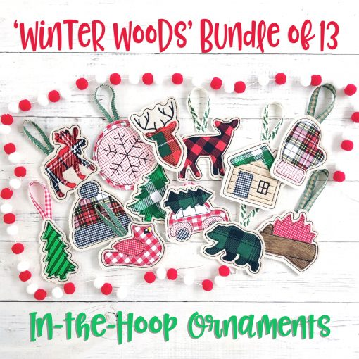 Winter Woods Bundle In the Hoop Applique Ornaments