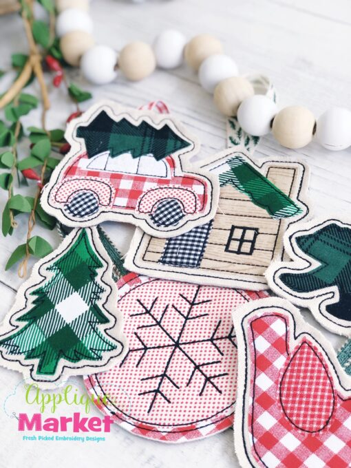 Woodland Cabin Applique In the Hoop Ornaments