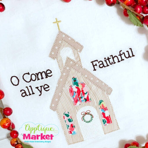 Christmas Church Applique Bean Stitch Design