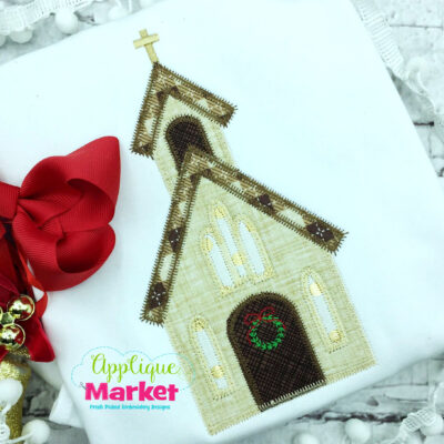 Christmas Church Applique Zig Zag Design