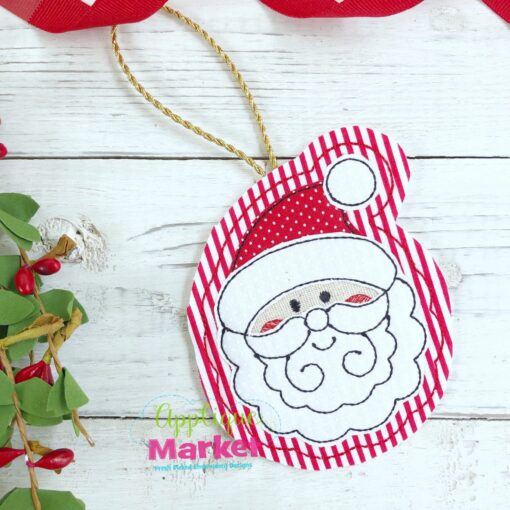 Santa Face Applique In the Hoop Ornament