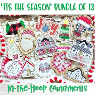 In the Hoop Ornament Tis the Season Bundle