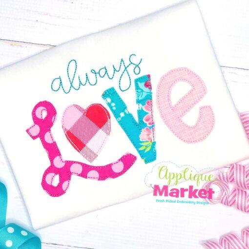 Always Love Applique Bean Stitch Design