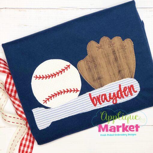 Baseball Trio Bean Stitch Applique