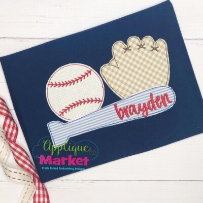 Baseball Trio Bean Stitch Applique Design