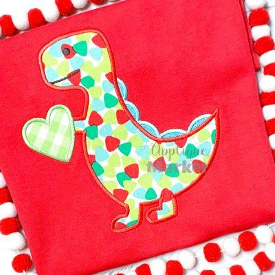 Dinosaur Heart Satin Applique