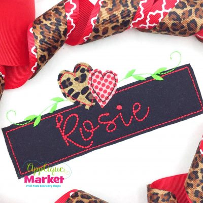 Heart Name Box Bean Applique