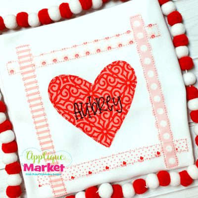 Heart Strip Square Bean Stitch Applique