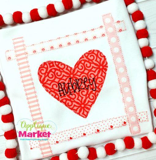 Heart Strip Square Bean Stitch Applique
