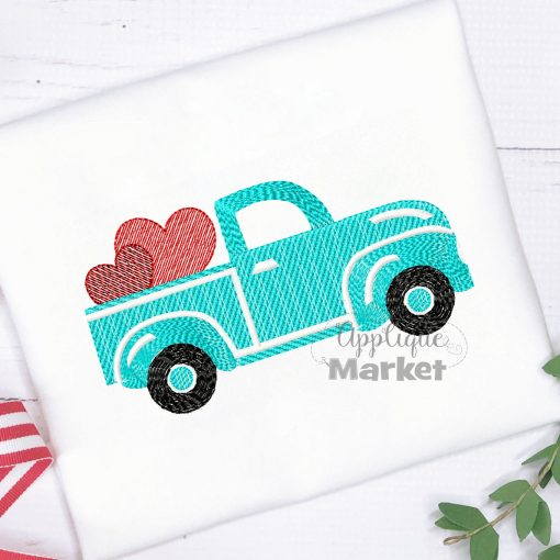 Truck Hearts Sketch Embroidery Design