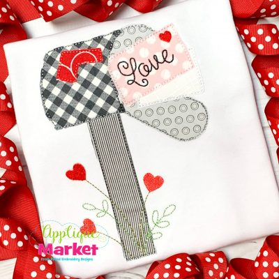 Valentine Mail Box Bean Stitch Applique