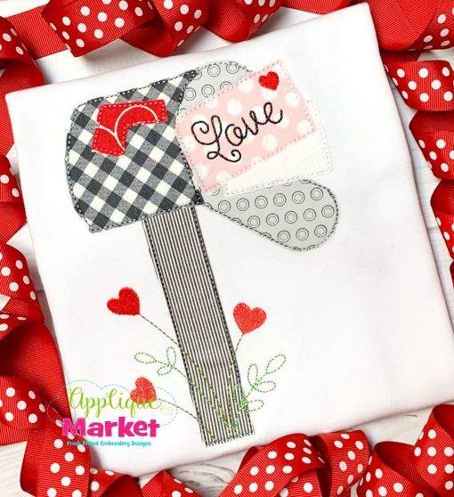 Valentine Mail Box Bean Stitch Applique
