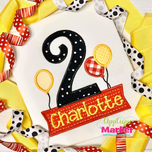 Birthday Number 2 Balloons Name Box