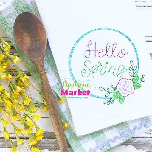 Hello Spring Wreath Embroidery