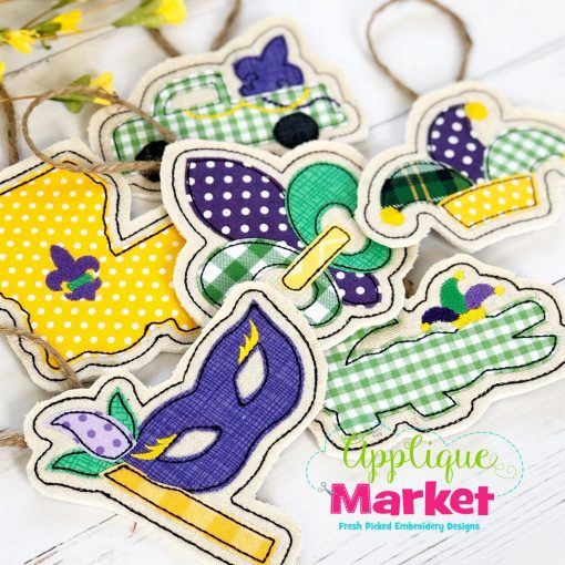 Mardi Gras In the Hoop Applique Ornaments