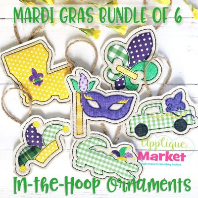 Mardi Gras Ornament Bundle Applique Embroidery Designs