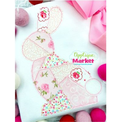 Patchwork Bunny Applique Bean Stitch Design 2