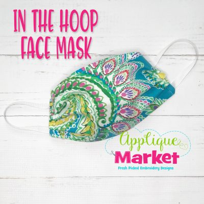 Applique Market Embroidery In the Hoop Face Dust Mask Design