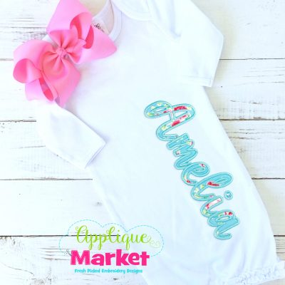 Casual Cursive Applique Satin Alpha