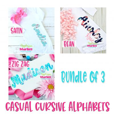 Casual Cursive Embroidery Applique Alphabet Bundle