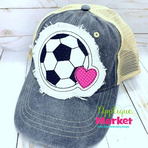 Soccer Ball Heart Embroidery Applique Hat Patch Design