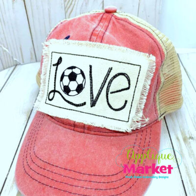 Soccer Love Embroidery Applique Hat Patch Design