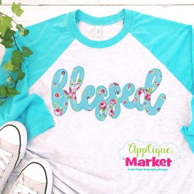 Blessed Applique Bean Stitch Raglan Tee