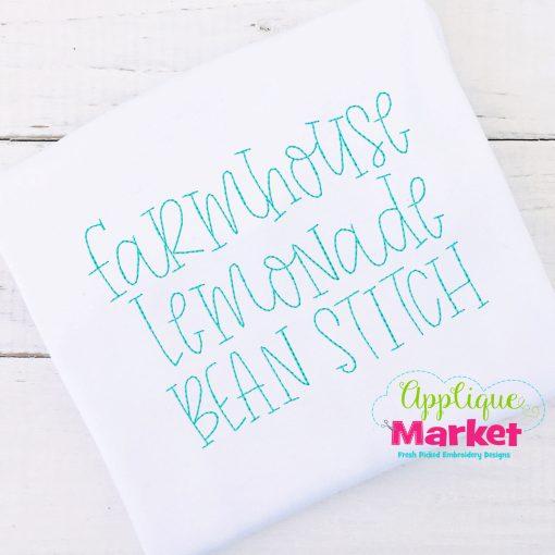 Farmhouse Lemonade Bean Stitch Embroidery Font