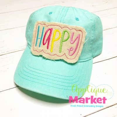 Happy Applique In the Hoop Hat Patch