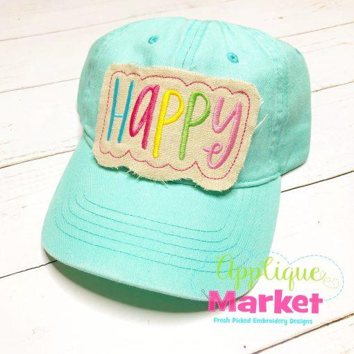 Happy Applique In the Hoop Hat Patch