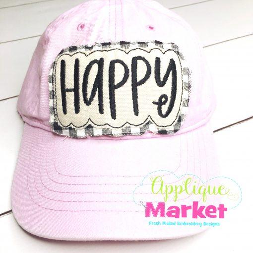 Happy Applique In the Hoop Hat Patch Pink