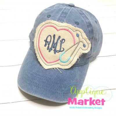 Nurse Heart Applique In the Hoop Hat Patch
