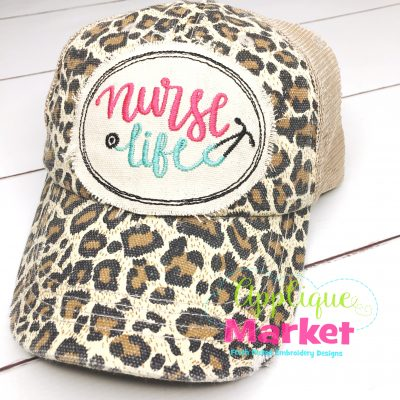Nurse Life Applique In the Hoop Hat Patch Oval