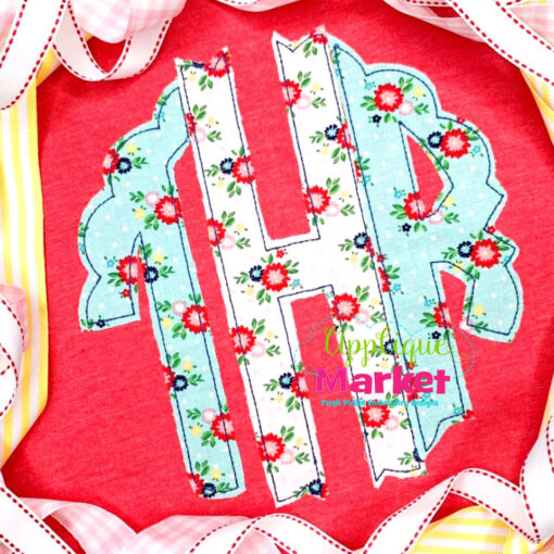 Scallop Circle Monogram Applique Bean Stitch Floral Sample