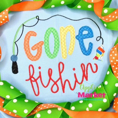 Applique embroidery patch design gone fishing pole