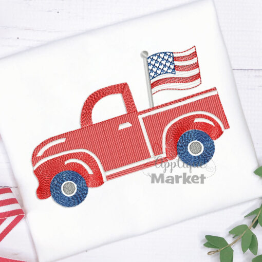 Truck Flag Filled Embroidery Sketch Design