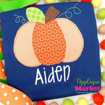 Plump Pumpkin Bean Stitch Applique